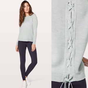 Lululemon Tied To You Knit Sweater Blue/Grey